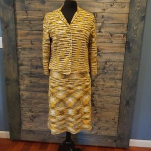 Vintage Knit Skirt Suit Variegated Yellow Crochet
